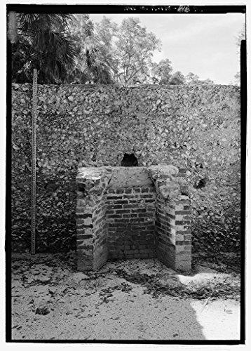 Vintography 8 x 12 Photo Slave Quarters E15, Detail View Fireplace Scale Stick - Kingsley Plantation, 11676 Palmetto Avenue, Jacksonville, Duval County, FL 1856 87a by Vintography