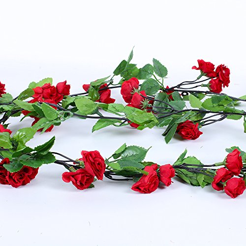 Li Hua Cat Rose Garland Artificial Rose Vine with Green Leaves 63 Inch Pack of 3 Flower Garland For Home Wedding Decoration (Red-03)