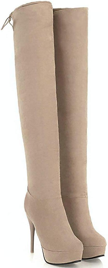 MAVMAX Womens Wide Calf Thigh High Stiletto Heels Over The Knee Boots