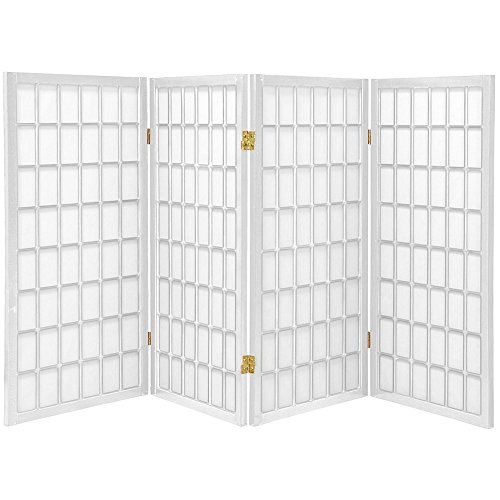 (Oriental Furniture 3 ft. Tall Window Pane Shoji Screen - White - 4 Panels)