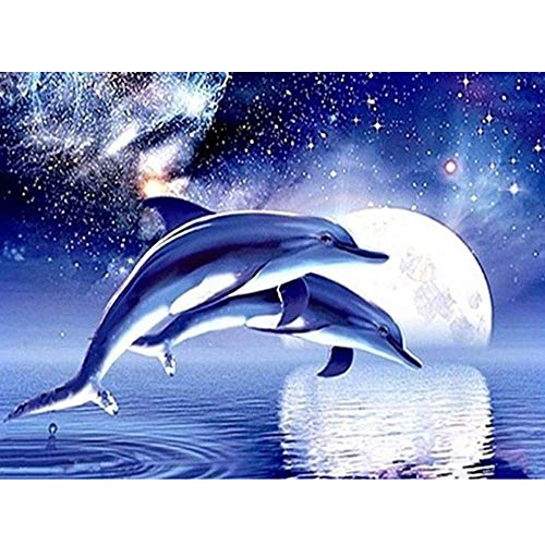 BoutiQ 2019 Diamond Painting by Number Kits for Adults 40x30cm Moonlight Dolphins - 5D DIY Full Drill Round Embroidery Pictures Art Craft for Home Wall Decor Cross Stitch Tools (Moonlight Dolphin)