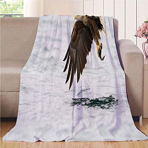 Throw Blanket Custom Cozy Blanket Perfect for Couch Sofa or Bed Beautiful 3D Printed,Eagle,Bird with Feathers on Head and Tail Catching a Fish Hunting Animal Food Chain,Pearl Brown Yellow,31.50
