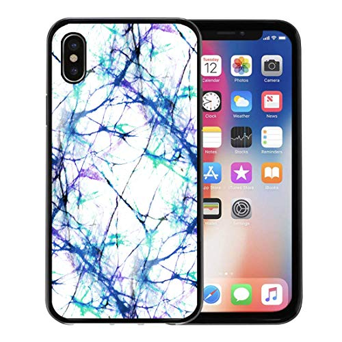 Semtomn Phone Case for Apple iPhone Xs case,Marble White and Blue Batik Abstract Winter Pattern Indigo Dye for iPhone X Case,Rubber Border Protective Case,Black