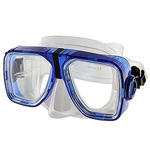 Different Optical Corrective Lens on Each Side Snorkel Mask, Trans. Blue
