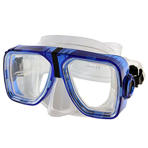 Promate Optical Corrective Scuba Snorkeling Mask, Trans. Blue, Nearsight-4.0