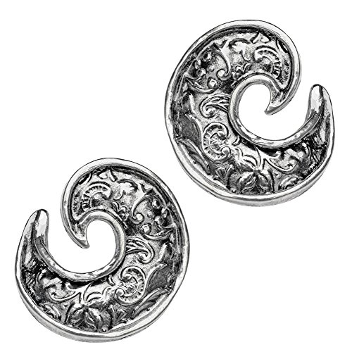 Paz Creations .925 Sterling Silver Lace Scroll Earrings, Made in Israel