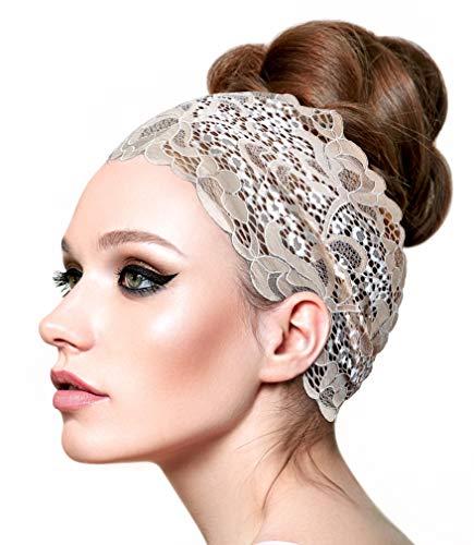 Vintage Lace Head-Band Super Wide (Beige White Floral lace - 102)
