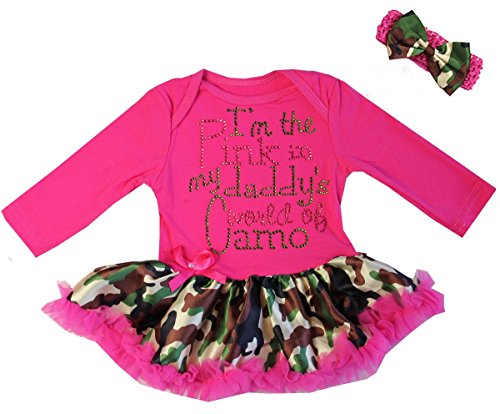(I'm The Pink In My Daddy's World Of Camo Bodysuit Pettiskirt Medium Hot Pink)