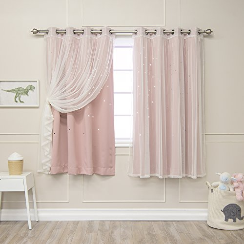(Best Home Fashion Mix & Match Tulle & Star Cut Out Blackout Curtains - Dustypink - 52