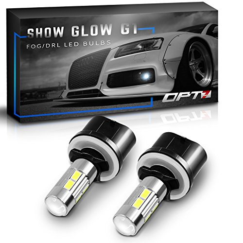 OPT7 Show Glow G1 LED Fog Light Bulbs - 880 (890, 892, 893) - 6000K Cool White - All Bulb Sizes and Colors - 225 LMS per Bulb - 10-SMD - Plug-n-Play (Pack of 2) ()