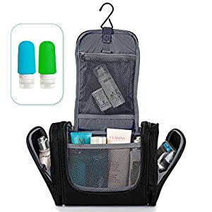 Toiletry Bag - Travel Organizer - Toiletry Kit with Travel Bottles Set - Shower Bag - Bathroom bag for Toiletries - Travel Hanging Cosmetic Bag - Large Traveling Makeup bag for Men and Women - Black
