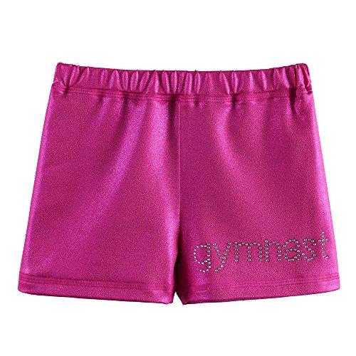 BAOHULU Girls Gymnastics Shorts Sparkle Metallic Athletic Dancewear4-12Y TQ318_HotPink_M