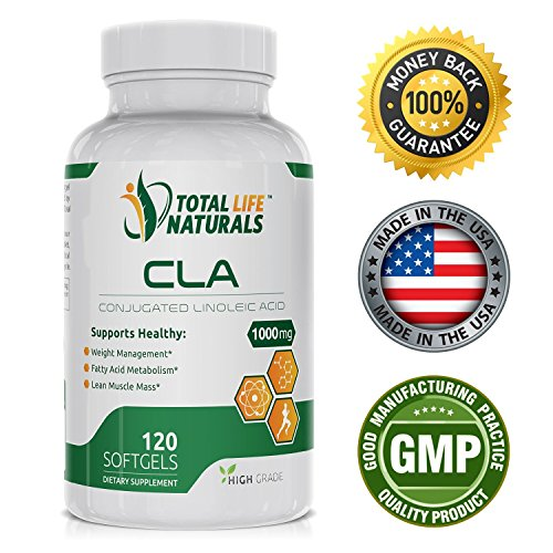Conjugated Linoleic Acid CLA Complex/Safflower Oil Supplement, 1000mg | Natural Fat Burner, Weight Loss & Muscle Builder Capsules for Men and Women | Made in the USA by Total Life Naturals 1000 Mg Safflower Oil