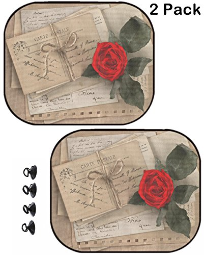 (MSD Car Sun Shade Protector Side Window Block Damaging UV Rays Sunlight Heat for All Vehicles, 2 Pack Image ID 27134118 Dry red Rose and Old Love Letters Vintage Postcards envelopes Valenti)
