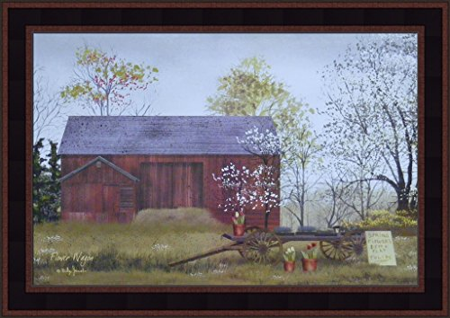 Primitive Framed Art (Flower Wagon by Billy Jacobs 15x21 Flowers For Sale Spring 4 Seasons Print Country Barn Farm Primitive Folk Art Framed Picture)