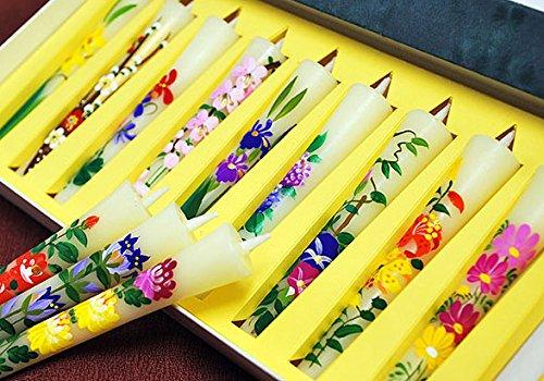 送料無料 手描き絵ろうそく  12ヶ月の花を描いた「四季の花」3号12本入り B0170ZTZEO