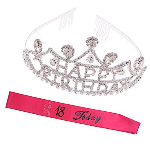 Dovewill 18th Happy Birthday Rhinestone Tiara Headband Party Rose Satin Sash 18 Today Party Supplies by Dovewill