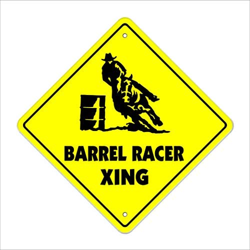 Che3423erth Metal Tin Sign Wall Decor Barrel Crossing Sign Tall New Rodeo Cowboy hat Horses Roping Racing Calf 12x12 Inches