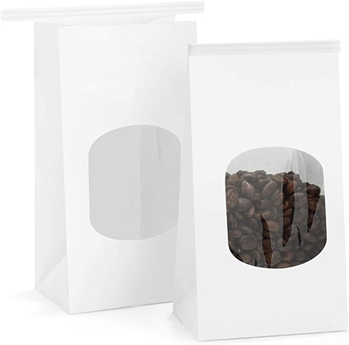 3.54x2.36x6.7 GSSUSA Bakery Bags Paper Treat Bags Resealable Kraft Paper Bags Cookie Popcorn Bags with Windows Pack of 100 Brown