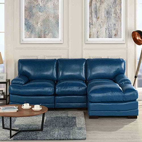 Navy Blue Leather Match Upholstered Sectional Sofa, L-Shape Modern Right Facing Chaise Sectional Furniture Couches, for Livingroom/Office (Navy Blue Sectional Leather)