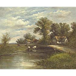 Oil Painting 'Decorative Landscape Painting Of The Farm By The River' Printing On Perfect Effect Canvas , 12x15 Inch / 30x37 Cm ,the Best Hallway Decor And Home Decor And Gifts Is This Reproductions Art Decorative Prints On Canvas