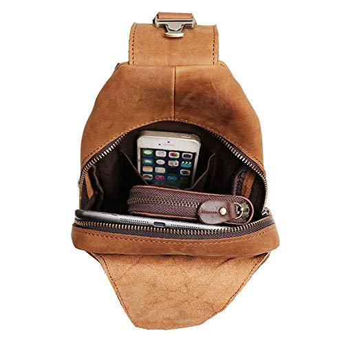 Casual Brown Leather Sling Capacity Messenger Outdoor for Shoulder Sports Large Men's Crossbody Bag Color Backpack Women Ybriefbag Bag Men Backpack Bag Brown Chest tYgqA1w1