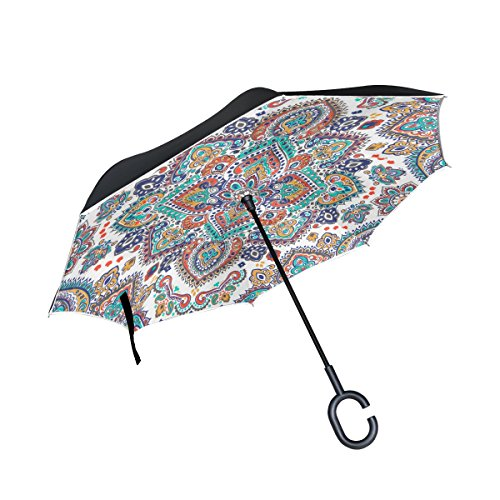 Top Carpenter Double Layer Reverse Inverted Umbrellas Floral Paisley Medallion with C-Shaped Handle for Car Outdoor