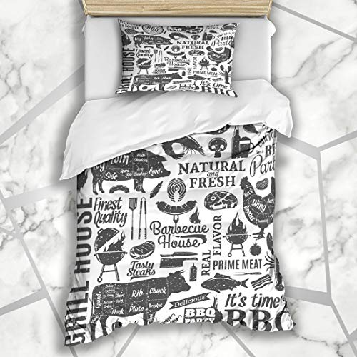 Ahawoso Duvet Cover Sets Twin 68X86 Cut Meat Retro Styled Typographic Barbecue Food Drink Pork BBQ Pattern Beef Grill Butchery Design Microfiber Bedding with 1 Pillow Shams