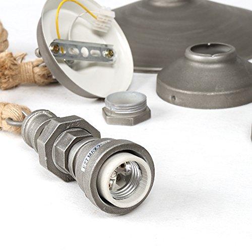 Retro Edison Pendant Light, 1 Light Semi Flush Mount Ceiling Light, Industrial/Country Style Pendant Lamp, Galvanized Steel Finish by Chrasy (Image #8)