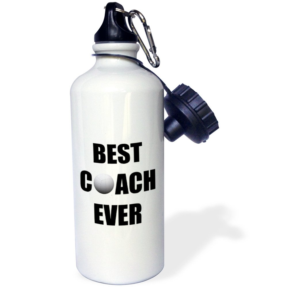 3dRose wb/_237372/_2Best Volleyball Coach Ever Flip Straw Water Bottle 21 oz White