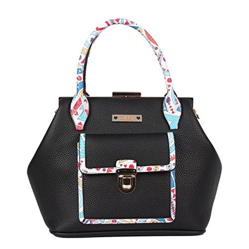 Nikky Women's Doctor Style Floral Print Shoulder Bag, Black, One (Doctor Style Bag)