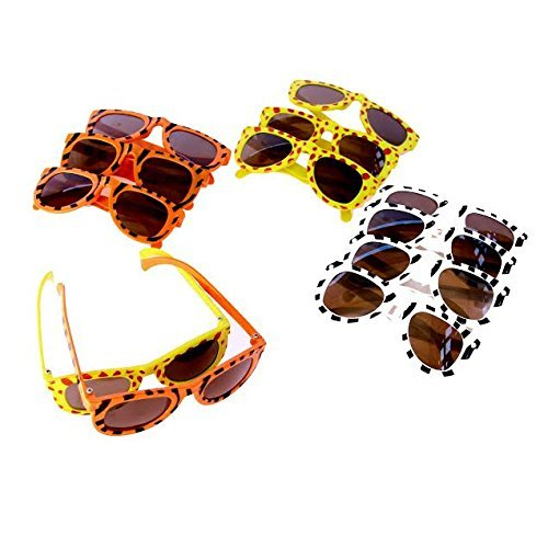 Animal Print Sunglasses - Dazzling Toys Animal Print Sunglasses Assortment - Pack of 24 - Leopard, Tiger and Zebra Styles