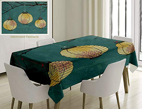 - Unique Custom Cotton And Linen Blend Tablecloth Lantern Decor Three Paper Lanterns Hanging On The Branches Lighting Fixture Source Lamp Boho Print TeaTablecovers For Rectangle Tables, 86 x 55 Inches