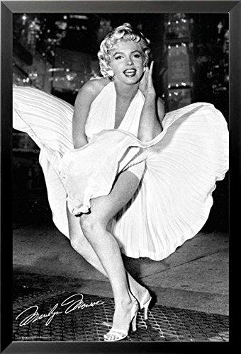 White Dress Famous Marilyn Monroe - Buyartforless IF GB FP3354 36x24 1.25 Black Framed Marilyn Monroe - White Dress - 7 Year Itch 36X24 Photograph Art Poster Print