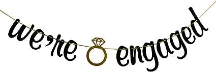 Engaged AF Banner Engagement Party Decorations Sign Gold Gliter Paper