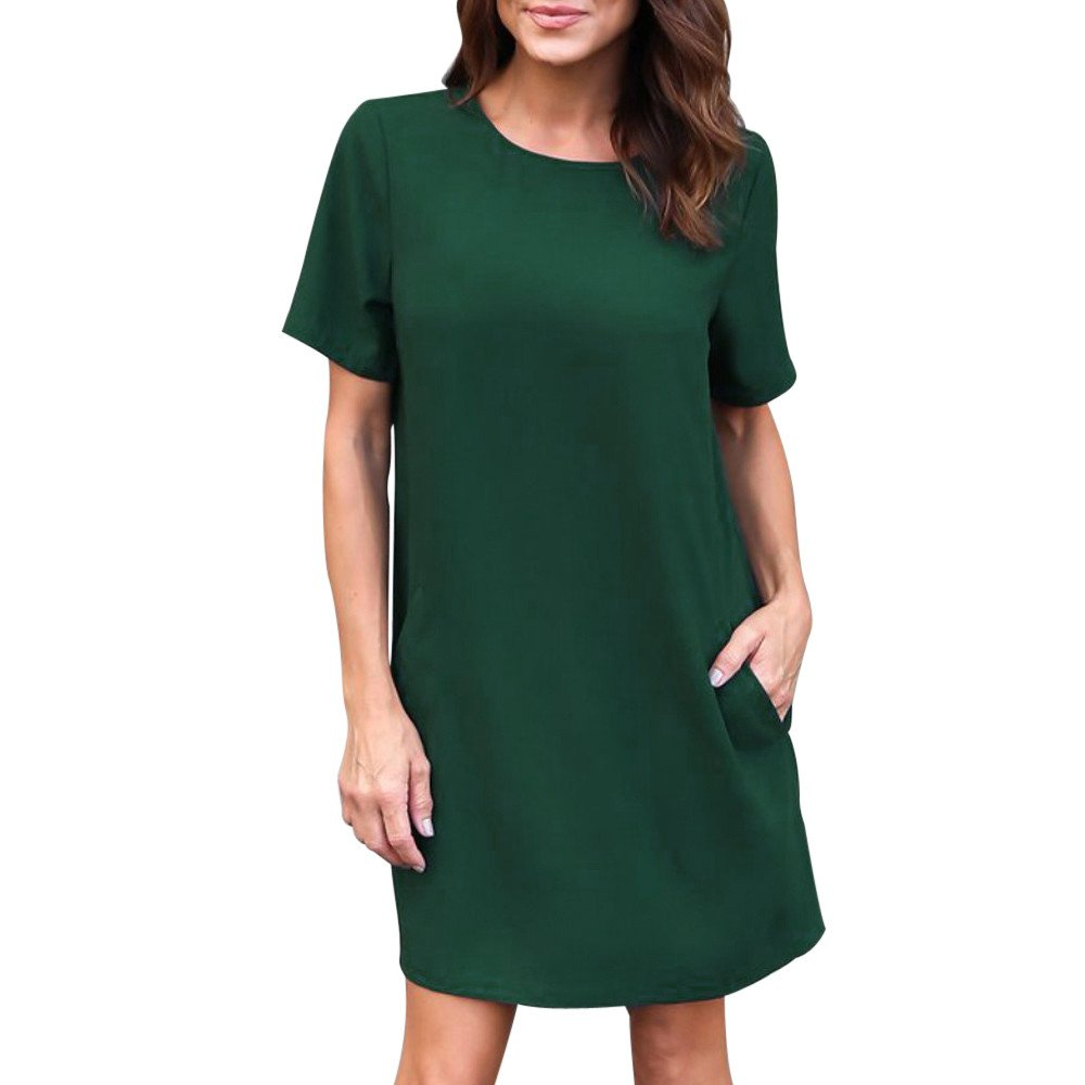 Women Dress Short Sleeve Casual Solid Color Loose Midi Dress with Pocket Knee Length (S, Green)