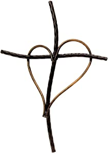"""Gifts & Decor Decorative Wall Cross with Heart, Cast Iron Metal, 13"""" (Black)"""