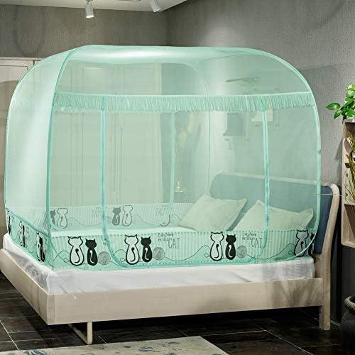 蚊帳テント,折りたたみユルトドームネット プラグインのスタイル ダブルベッドの装飾のための3つの開口部が付いている大きいベッドの天蓋-d