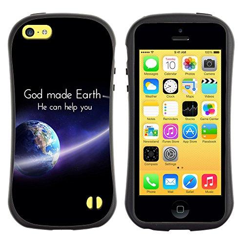 DREAMCASE Citation de Bible Silicone et Rigide Coque Protection Image Etui solide Housse T¨¦l¨¦phone Case Pour APPLE IPHONE 5C - GOD MADE EARTH, HE CAN HELP YOU