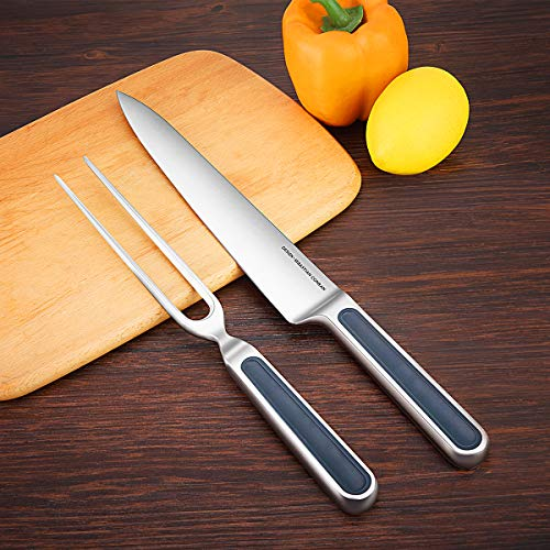 Universal Expert Carving Knife and Fork Set 2-Piece Cutlery Sets,BBQ Knives, Extended Fork for Meat, Roast, Ham, and Turkey, 8.8 Inch Stainless Steel Sharpening Gourmet Knife& Fork/Chisel by Universal Expert (Image #1)