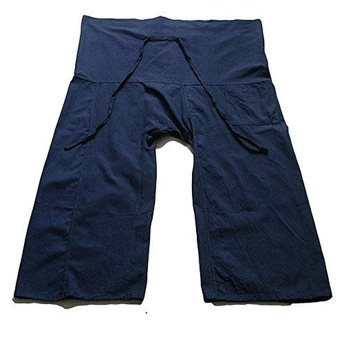 Yoga Pants Thai Fisherman Trousers Navy Blue Cotton Drill Free Size by Thai silk and cotton
