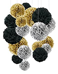 Tissue Paper Pom Poms, Recosis Paper Flower Ball for Birthday Party Wedding Baby Shower Bridal Shower Festival Decorations, 18 Pcs - Black, Gold and Silver