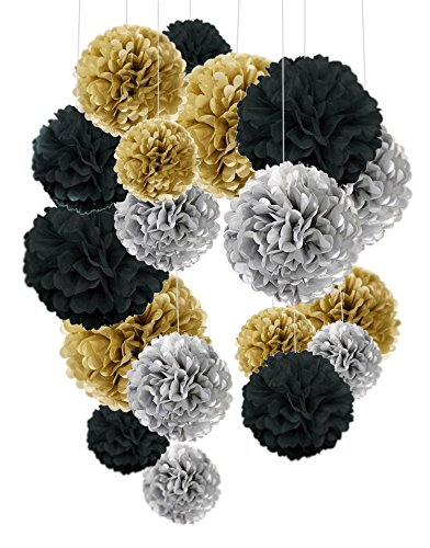 Tissue Paper Pom Poms, Cocodeko Paper Flower Ball for Birthday Party Wedding Baby Shower Bridal Shower Festival Decorations 18 Pcs - Black, Gold and - And Decor Wedding Black Silver