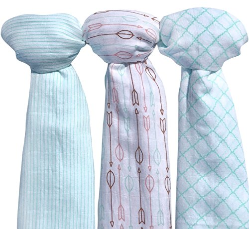 Muslin Baby Swaddle Blankets, Large (3 Pack) Mint Blue and White Collection with Arrows and Stripes