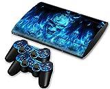 CSBC Skins Sony PS3 Super Slim Design Foils Faceplate Set - Blue Skull Design