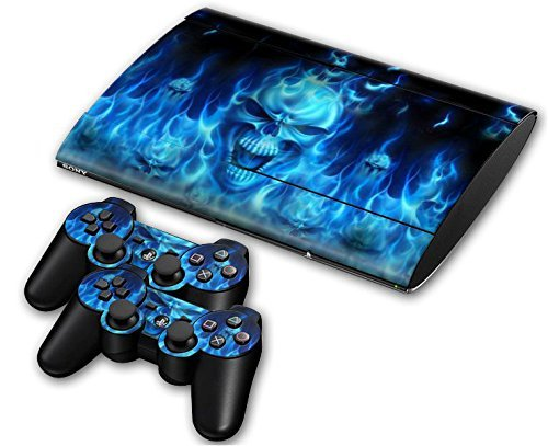 CSBC Skins Sony PS3 Super Slim Design Foils Faceplate Set - Blue Skull Design