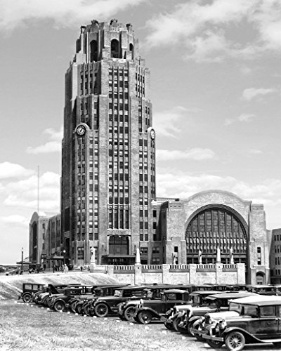 Restored Black & White Photo - Historic Buffalo, New York - Cars Outside the Central Terminal, c1930