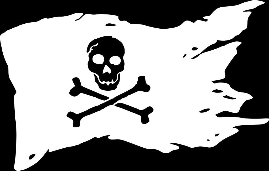 CCI Pirate Flag Decal Vinyl Sticker|Cars Trucks Vans Walls Laptop| White |7.5 x 4.5in|CCI1269