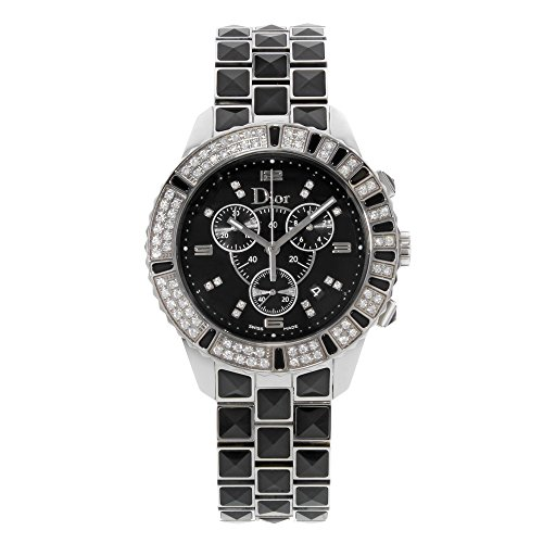 Christian Dior Unisex CD11431CM001 Christal Chronograph Diamond Black Dial Watch
