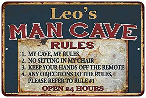 Amazon com: Leo's Man Cave Rules Chic Rustic Green Sign Home